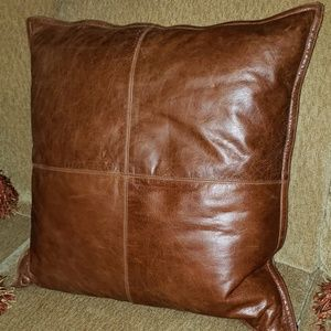 Other - QUALITY Brown Leather Western Throw Pillow